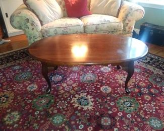 Matching love seat with Oval cherry coffee table