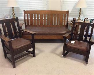 Charles Limbert Mission Oak Antique Set.