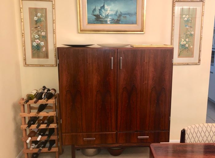 Magnificent Mid Century Danish Modern Rosewood Dining room set with Table , eight chairs Tall bar cabinet & credenza by Morgens Kold