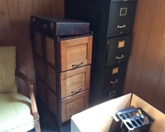 AN ANTIQUE FILE CABINET AND ANOTHER