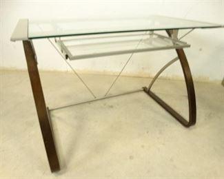 Glasstop Desk with Keyboard Shelf