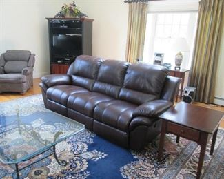 Like new Bobs Sofa, End Tables, Large Machine Oriental Rug, Glass Coffee Table