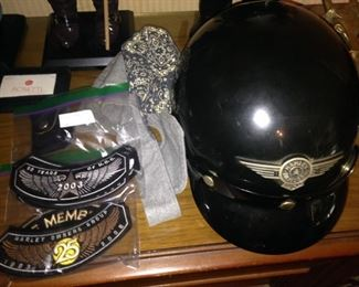 Motorcycle patches and Harley helmet
