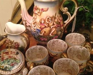 Coffee and cups - hand-painted in Occupied Japan