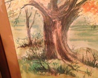 Framed watercolor by Kahler