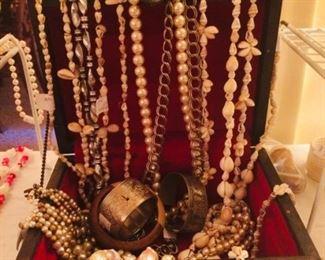 Treasure chest full of costume jewelry