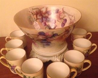 Hand painted punch bowl & mugs