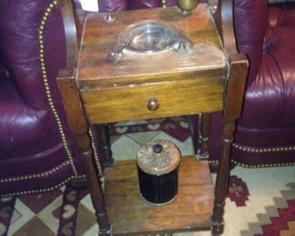 Two matching tufted chairs; antique smoking stand