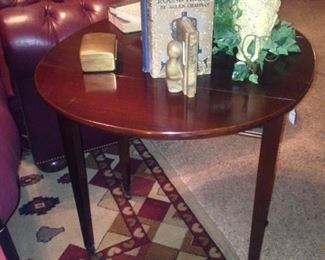 Round drop leaf table when opened