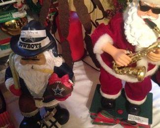 Dallas Cowboy Santa and Saxophone Santa
