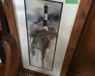 Lighthouse in burled  walnut frame