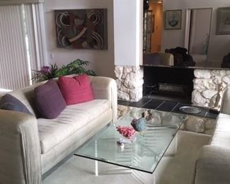 Custom Sofas & Glass & Lucite Coffee Table.  SOFAS SOLD