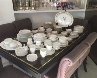 Rosenthal & Royal Bayreuth China sets.  Milo Baugman attributed extendable dining table w/ 6 custom chairs