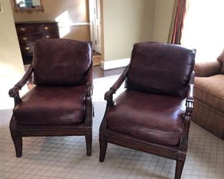 2-like new leather chairs