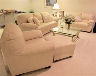 ITALIAN LEATHER SOFA, LOVESEAT AND CHAIR