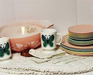 "Retro Kitchen - Pyrex ""Pink Gooseberry"" 4 qt large bowl, vintage Melmac dinnerware and more.."