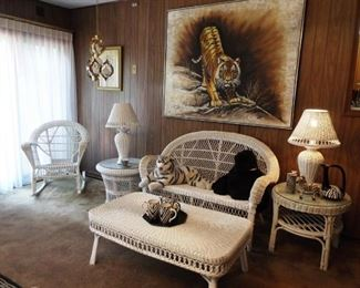 Wicker furniture and Tiger painting