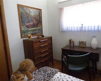Mid century dresser, desk & chair