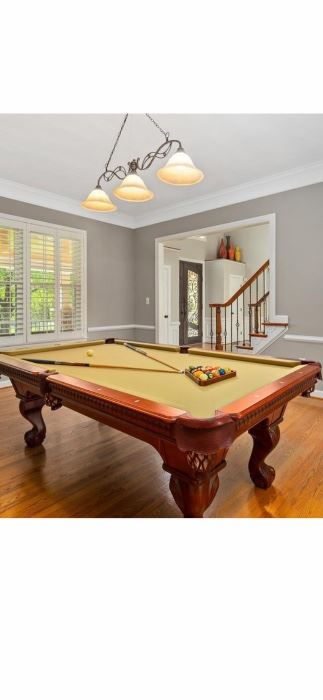 Official mahogany Cannon Pool Table and all accessories. Sticks and rack