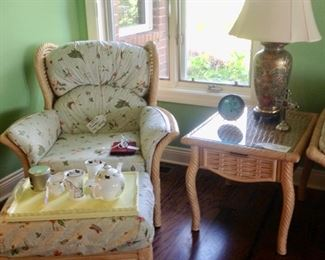 Rattan Chair & Ottoman that match Rattan Sofa.  Also a Rattan/Glass End Table