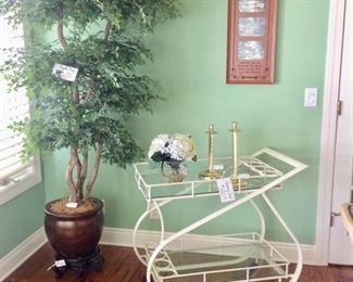 Metal/Glass Rolling Serving Cart & a Very nice Silk Tree