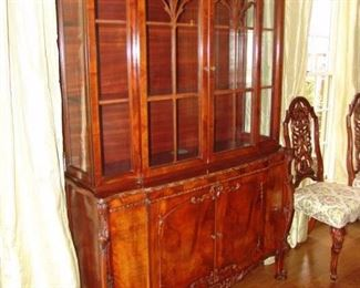Mahogany china cabinet with 2 lower doors and two glass upper doors, Circa 1940