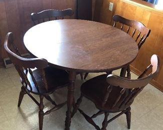 Solid Wood Dinette w/ leaf and Four Chairs