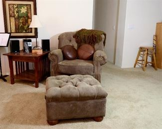 Mission side table and comfortable overstuffed chair with matching ottoman.