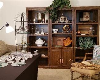 Bookshelves/display shelving for sale. Vintage chair and stool.