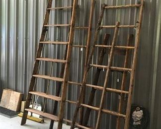 Vintage wood ladders