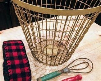 Wire basket, vintage kitchen utensils