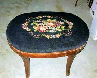 Vintage embroidered stool
