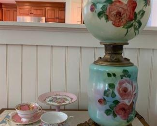 Tea Cups, Hurricane Lamp