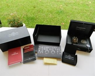 Omega Moon Landing set w/paperwork, cases, watch & commemorative coin