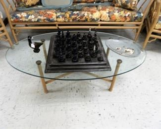 Large glass top patio table
