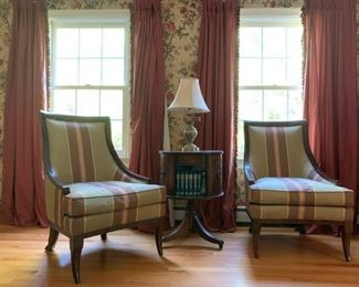 Century Furniture Sloped Arm Armchairs, PAIR