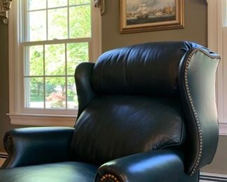 Hancock and Moore Leather Recliner with Nail Head Trim
