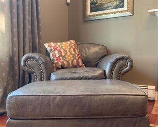Ethan Allen Leather Armchair and Ottoman