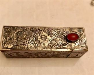 Sterling lipstick case hand engraved