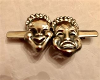 Sterling tragedy and comedy brooch