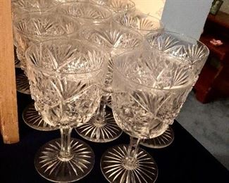 American brilliant period cut glass water goblets, 12 of a service for 12 in 3 sizes: waters, wines, champagne. Circa 1890 probably made by hoare
