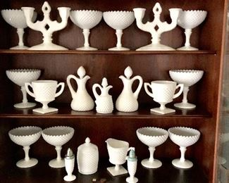 Westmoreland c 1929 English Hobnail pattern includes goblets and many serving pieces