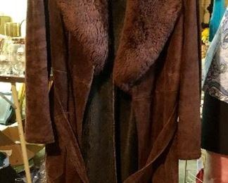 Full length suede coat trimmed w mouton