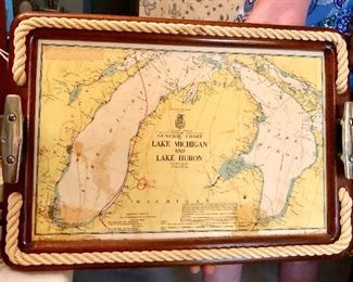 Cool vintage nautical tray with chart of Great Lakes