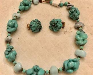 Venetian glass beads w matching earrings