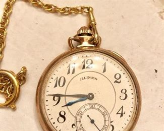 Illinois pocket watch works great gold filled