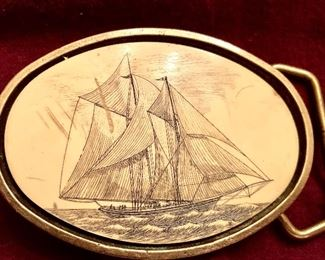 Artist initialed scrimshaw buckle dated 1976