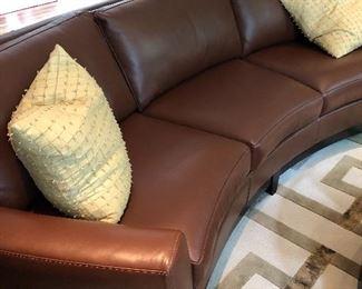 BEAUTIFUL LEATHER SOFA WITH SOFT CURVE - 3 cushion detachable back cushions
