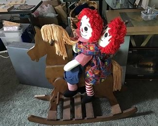 Hand crafted Rocking Horse ; Raggedy Ann & Andy