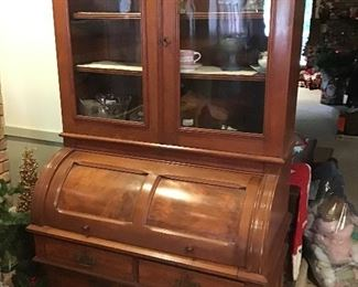 Burlwood Rolltop Hutch - Antique